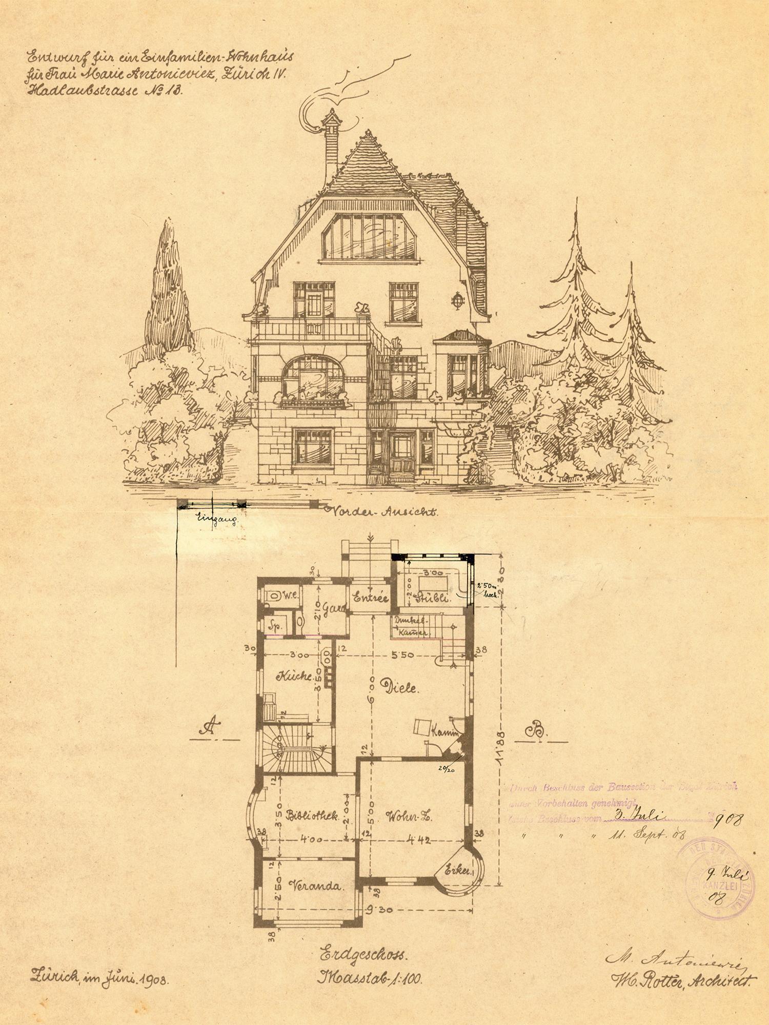 Entwurf für ein Einfamilien-Wohnhaus von Architekt Rotter, Zürich 1908